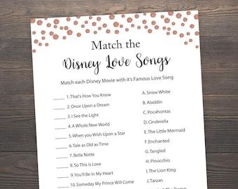 Rose Gold Bridal Shower Games, Match the Disney Love Songs, Disney Themed Bridal Shower Games, Disney Bridal Shower Games, Printable, J012