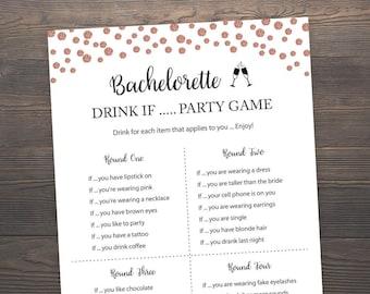 Rose Gold Bridal Shower Games, Bachelorette Drink If Game, Hens Party Game, Rose Gold Drink If Game, Bachelorette Party, Printable, J012