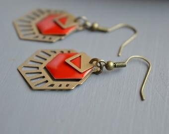 Dark red graphic Hexagon Stud Earrings