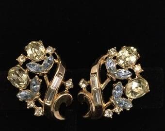 CROWN TRIFARI CITRINE Floral Earrings