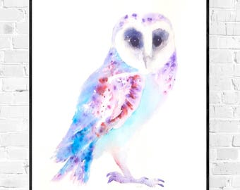 Original owl painting-painting-art-owl owls OWL illustration-animal painting-owllovers-nursery art-watercolor art-zen-brusho wallart