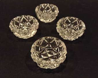 Vintage Bohemian Crystal Open Salt Cellars / Dishes/ Dips Diamond Pattern Table Dining Decor Made in Czechoslovakia