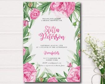 Pink Peonies Watercolor Floral Bridal Shower Invitation, Watercolor Bridal Shower Printable Invite, Garden Shower Rustic Bridal Shower Pink