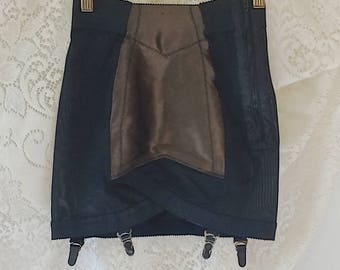 Vintage 1950's Black & Brown Satin Girdle