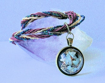 Energy Healing Orgone  Pendant - Blue Lace Agate, Shungite and Clear Quartz   EMF Radiation Protection, Throat Chakra, Reiki, Meditation,