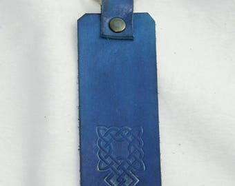 Blue Celtic Square Knot, Genuine Leather Keychain, Handmade