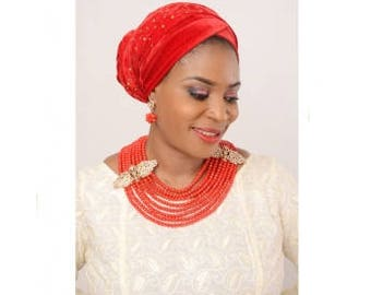 Red Turban With Gold Stones