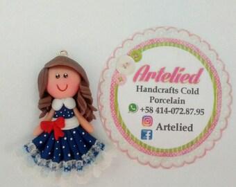 Clay Doll - clay charm - bow center doll