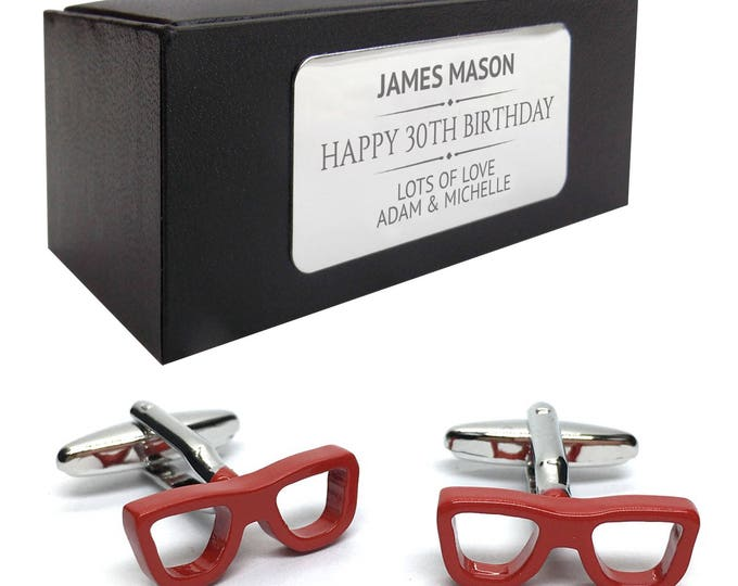 Geek glasses opticians CUFFLINKS 30th, 40th, 50th, 60th, 70th birthday gift, presentation box PERSONALISED ENGRAVED plate - 405