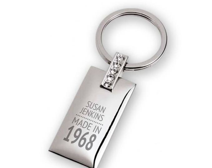 Personalised engraved 50TH BIRTHDAY keyring with 5 crystals, rectangle with a polished chromed finish  - 7129-50