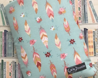 Buddle, small, padded book cover/sleeve (feathers)