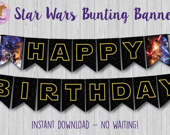 Star Wars Banner, Star Wars Bunting Banner, Star Wars Party Decoration, Star Wars Birthday Banner, May the Force Be With You Banner