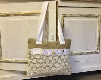 Burlap bag, lace and satin