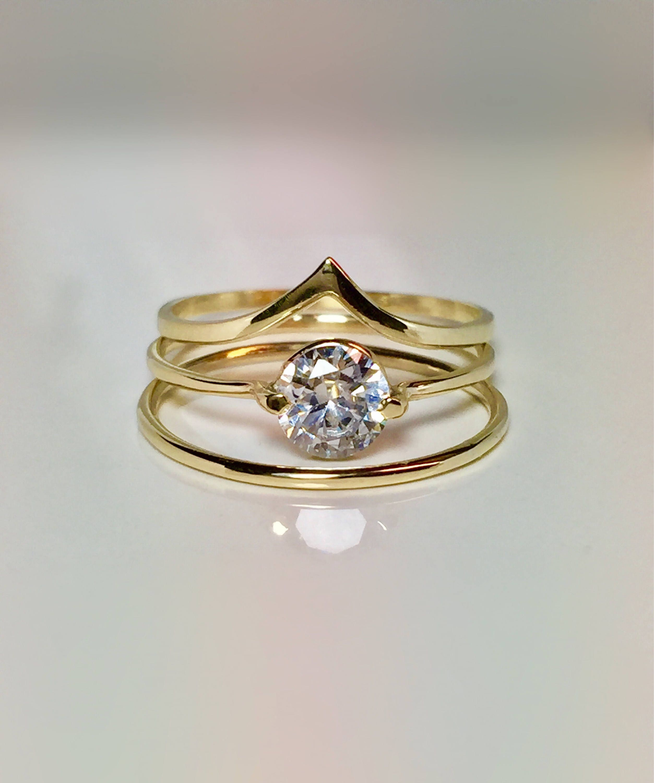 3PC Set 14k 10k Gold La s Wedding Promise Ring Gold Pinky