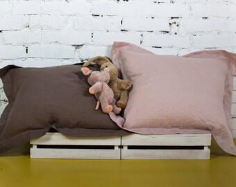Linen pillowcase, grey pillowcase, soft pillowcase, handmade linen white, blue pillowcase, white linen sheet, grey pillowcase/LH0005