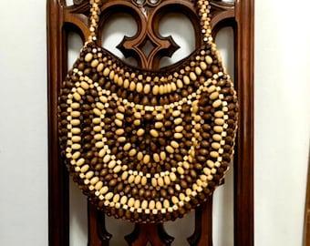 1960s Wooden bead hobo bag