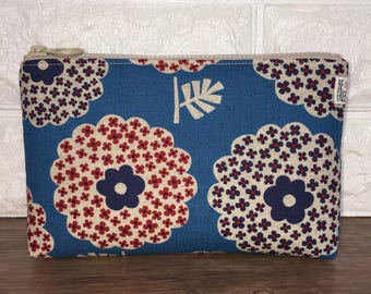 Floral Makeup Bag Retro Flowers Japanese Fabric Handmade Bag – Cosmetic Zipper Pouch – Toiletry Bag – Cosmetics Case – Zippered Travel Pouch