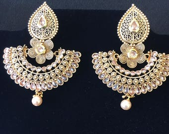 Gorgeous Polki stone gold plated earrings