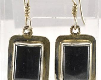 Hematite Earrings, Sterling Silver, Dangle Earrings, Vintage Earrings