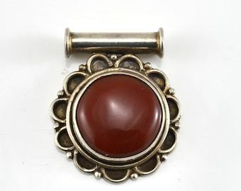 Carnelian Pendant, Vintage Pendant, Sterling Silver