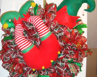 Elf Christmas wreath, Christmas wreath, Green and Red Elf Christmas wreath, Elf with Hat Christmas wreath