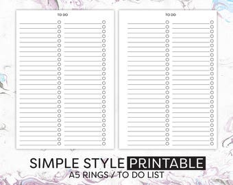 A5 To Do List Printable Planner Inserts, Planner Pages, Planner Refills, To Do List to fit Filofax, Kikki K etc. #HSUP002