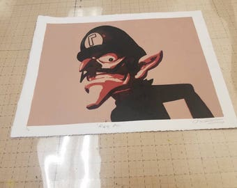 Rude Boy. A relief print of the lovable kiss boy known as Waluigi