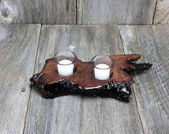 Redwood Candle Holder Rustic Glass 2 Votive Handmade Wood 5th Anniversary #E
