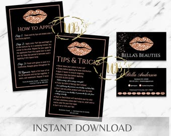 Rose Gold|Black|Glitter|LipSense Starter Bundle|LipSense Business Cards|LipSense Tips|LipSense Application Card|SeneGence|Distributor|Lips