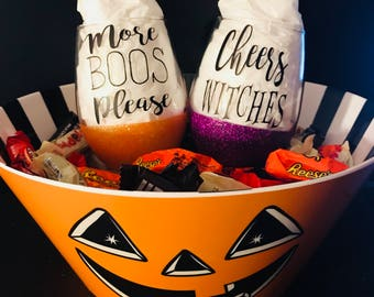 Set of two Halloween 15oz Stemless Glitter Dipped Wine Glasses *CANDY NOT INCLUDED*