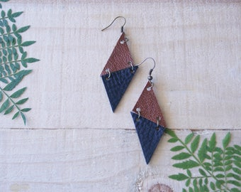 Small Geometric Leather Earrings / Triangles / Black & Brown