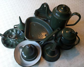Vintage Dutch green enamel kitchenalia 9 piece collection