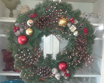 """Christmas Wreath with Plums, packages, and balls est 22"""""""