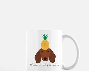 Personalized Dachshund Mug, Dachshund Mug, Dachshund with Fruit, Dachshund Coffee Mug, Wiener Dog Mug, Dachshund Coffee Cup, Dachshund Gifts