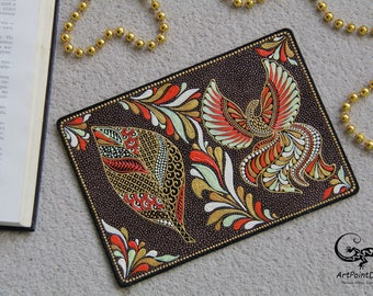 Leather passport cover, passport holder, Firebird