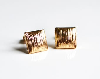 Gold Square Stud Earrings
