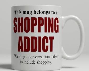 Shopping mug, Shopping coffee mug, mug for Shopping, shopping gift idea, mug shopper birthday gift shopping birthday gift EB addict shopping