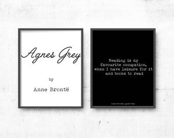 Minimalist Large Art, Literary Art Quotes Set of 2 Prints, Literary poster gift, Agnes Grey, Anne Bronte Art Prints, Black and White Art