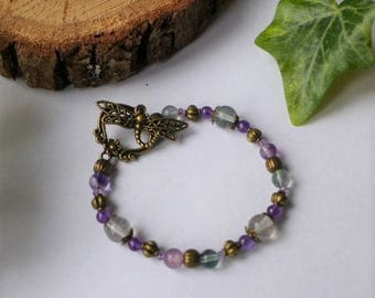 Bronze Dragonfly bracelet fluorite and Amethyst