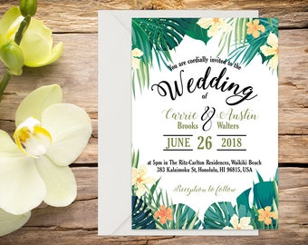 Printed Tropical Wedding Invitation, Destination Wedding, Beach Wedding, Tropical Wedding, Printed Invitation, Wedding invitation