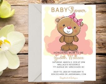Teddy Bear Baby shower invite, baby shower, baby girl invitation, shower invitation, printable invitation, digital invitation