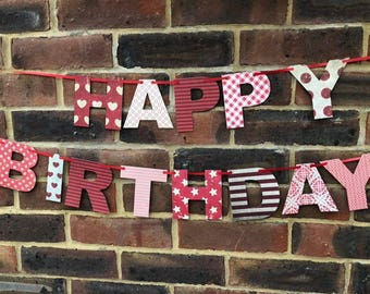Red Patterned Happy Birthday Bunting Garland Banner Party Bunting Decoration