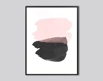Abstract wall art print, abstract art, minimalist, pink, black, abstract painting, fine art print modern,  abstract prints, contemporary art
