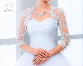 Bridal bolero lace with 3/4 long sleeves