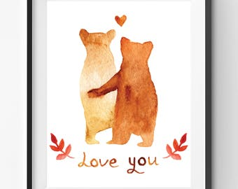 Love You Quote with Bears Hanging in Love Print, Bears on Love Print, Love Art Print, Bears Illustration Art, Love you Quote Print