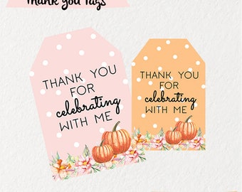 Pumpkin thank you tags, First Birthday thank you tags, instant download pumpkin favor tags, pumpkin favor tags,