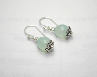 Sterling silver Aqua Calcite drop earrings | cabochon | high quality gemstone | Handmade