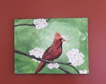 12x16 Red Cardinal Painting