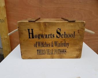 Antique Vintage Hogwarts Harry Potter Wooden Boxes Crates Chest