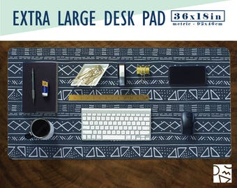 """Mud Cloth Inspired Desk Pad - Choose Your Base Color! 36x18"""" - Extra Large Mouse Pad - Mouse Mat - Extended Mouse Pad - Desk Accessory"""